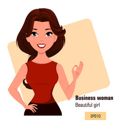 Young cartoon businesswoman dressed in office vector