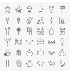 Barbecue line icons big set vector