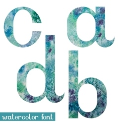 Green-blue watercolor font abcd vector
