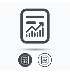 Report file icon document page with statistics vector