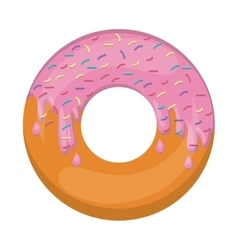 Donut with medium pink glazed and colored sparks vector