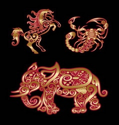 Golden animal horse scorpion elephant vector