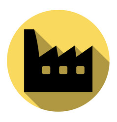 factory sign flat black icon vector image