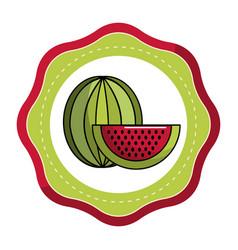 stiker delicious watermelon fruit icon vector image