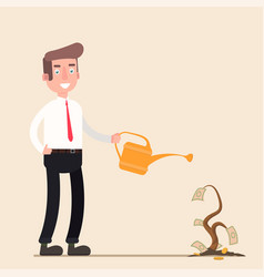 businessman is watering a tree of money increase vector image