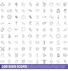 100 sign icons set outline style vector