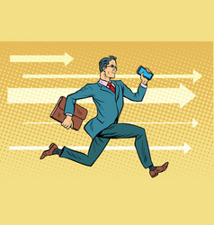 Businessman with a smartphone running fast forward vector