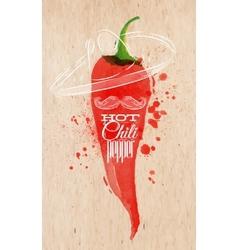 Poster watercolor hot chili pepper vector