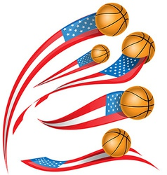 Basket ball with usa flag vector