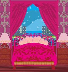 Elegant pink bedroom vector