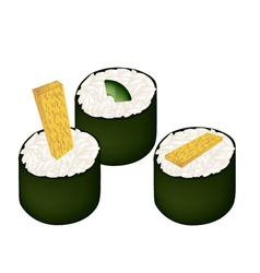Fried egg sushi roll and avocado maki vector