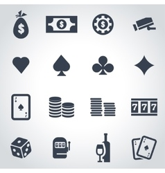 Black casino icon set vector