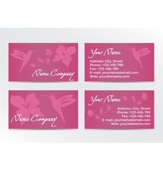 Business cards design with hummingbird on pink vector