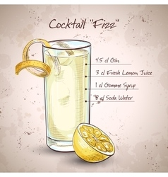 Gin Fizz cocktail vector image