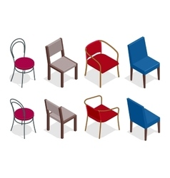 Cafe chair collection flat 3d vector