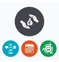 Protection money sign icon hands protect cash vector