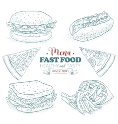 Scetch fast food menu vector image