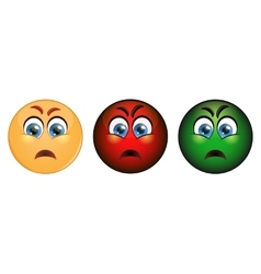 Set evil emoticon red yellow and green vector