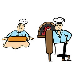 Baker makes bread vector image