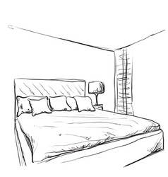 Bedroom interior sketch hand drawn furniture vector
