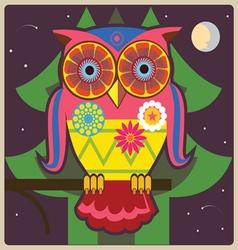 Cartoon owl night meditation vector