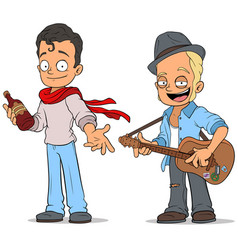 Cartoon street musician with guitar characters set vector