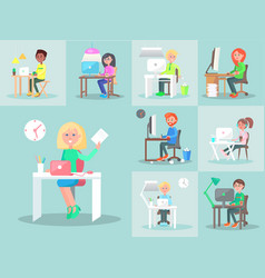 Characters work at computer in office big set vector