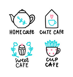 Cute cafe logotype vector