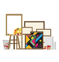 easel flat in studio interior vector image