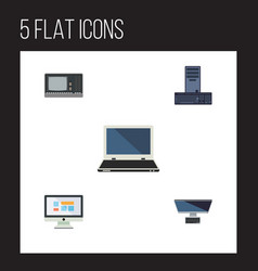 Flat icon computer set of processor display vector