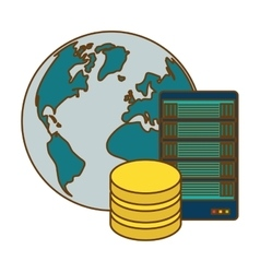 Global database server banner icon vector