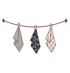 Hanging towels on rope vector