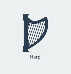 harp icon silhouette icon vector image