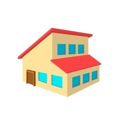 House with a mansard cartoon icon vector image vector image