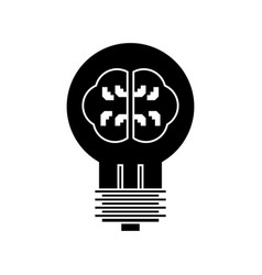 lamp with brain idea icon vector image