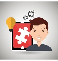 man teamwork isolated icon design vector image
