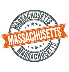 Massachusetts red round grunge vintage ribbon vector