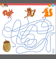 Maze game with squirrel characters vector