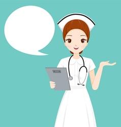 Nurse Holding Clipboard Talking vector image vector image