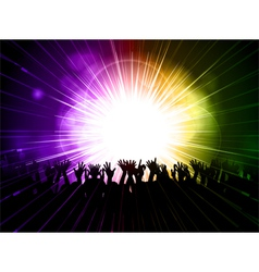party crowd on purple and green background vector image vector image