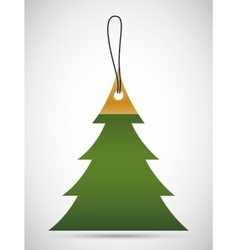 Pine tree tag icon merry christmas design vector