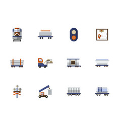 Railroad flat color icons set vector