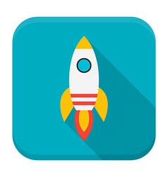 Rocket app icon with long shadow vector image vector image