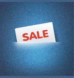 SALE label in pocket vector image vector image