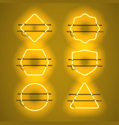 Set of realistic glowing yellow neon frames vector