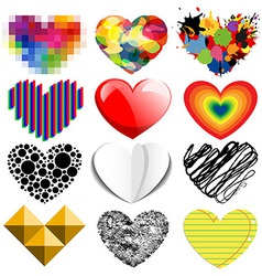 Set of twelve hearts vector