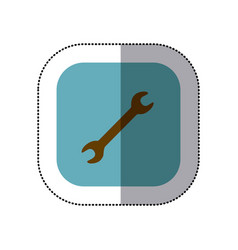 Sticker color square with wrench tool icon vector