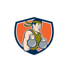 Strongman lifting kettlebell crest cartoon vector