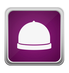 Violet square button relief with silhouette cloche vector