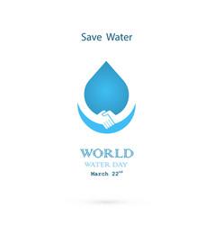 water drop with handshake icon logo design vector image vector image